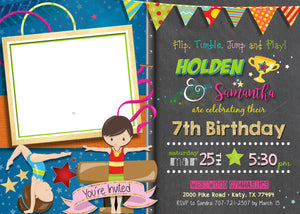 Sibling Gymnastics Joint Birthday Invitations - Double Gymnast Party Invitation - Flip Tumble Jump and Play Invite with Photo Boy Girl - CraftyKizzy