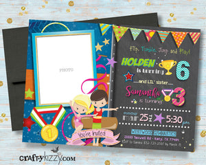 Sibling Gymnastics Joint Birthday Invitations - Double Gymnast Party Invitation - Flip Tumble Jump and Play Invite with Photo Boy Girl