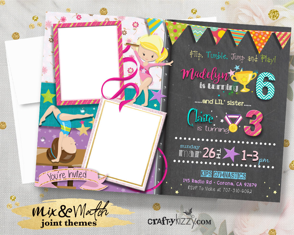 Girl Gymnastics Birthday Invitations - Double Joint Gymnast Party Invitation - Girls Gymnastics Flip Tumble Jump and Play Invite with Photos - CraftyKizzy