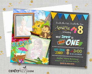 Luau Birthday Invitations - Joint Safari Invitation - Joint Sibling Party Invite - First 1st Birthday Girl Boy