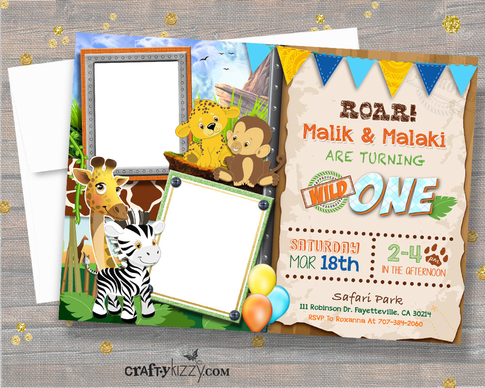 Joint Zoo Animal Birthday Invitation - Twins Safari Birthday Invitations - Wild One Birthday Invitation - Safari Ticket - CraftyKizzy