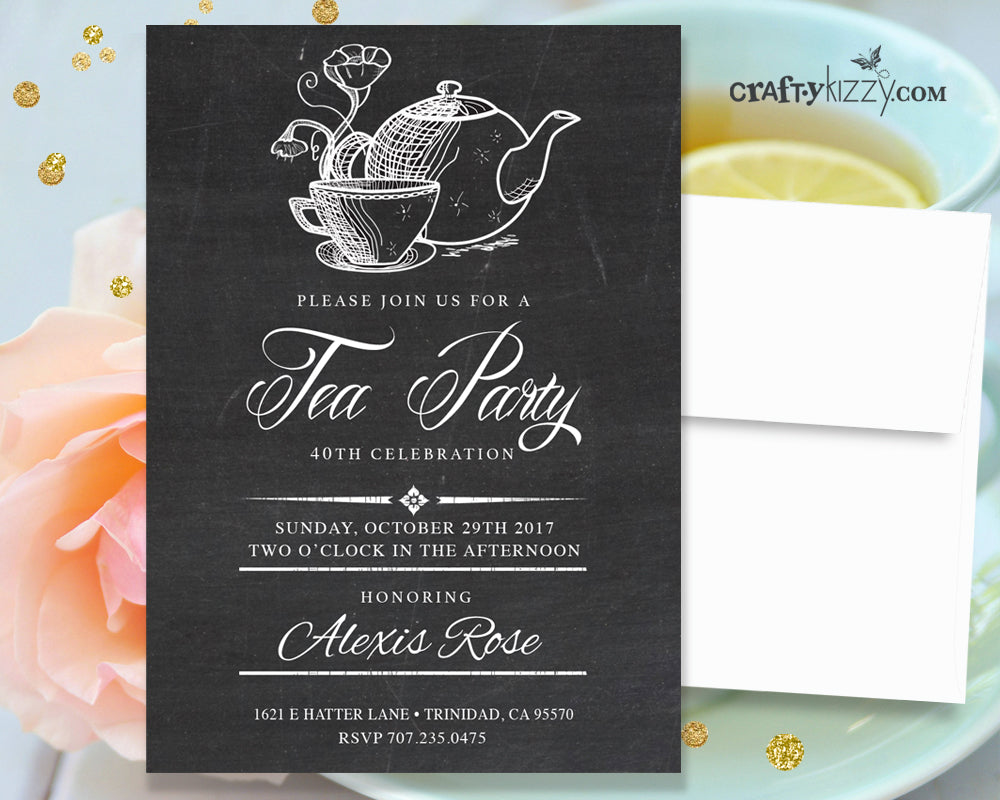 Tea Party Adult Birthday Party Invitations - 40TH Surprise ...