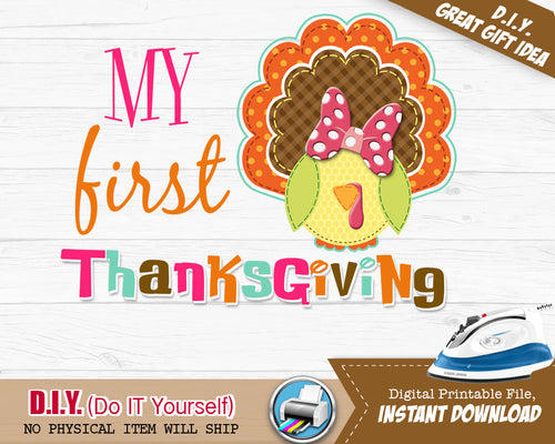 My First 1st Thanksgiving Fall Outfit Iron On Shirt - Appliqué Embroidery Design Printable - INSTANT DOWNLOAD - CraftyKizzy