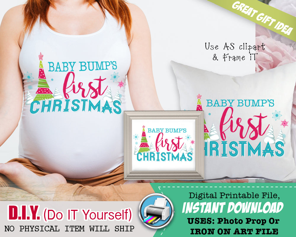 Baby Bump's First 1st Christmas Maternity Shirts Iron On Printable - Pregnancy Announcement Shirt Outfit - Preggers Instant Download