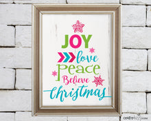 Joy Inspirational Christmas Word Tree Art Print - Digital Wall Decor - Peace Love Believe Quote - INSTANT DOWNLOAD