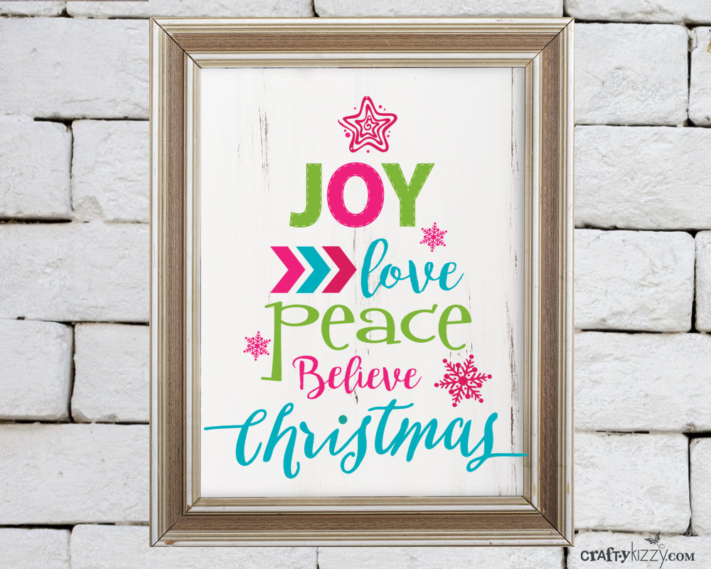 Joy Inspirational Christmas Word Tree Art Print - Digital Wall Decor - Peace Love Believe Quote - INSTANT DOWNLOAD - CraftyKizzy