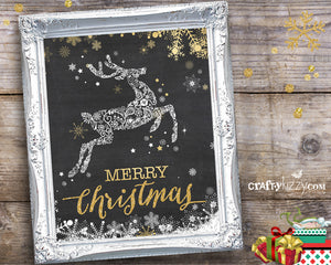 Merry Christmas Art Print - Reindeer Sign - Holiday Gift Prints - Chalkboard Art - Wall Decor INSTANT DOWNLOAD