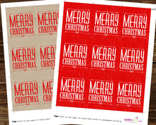 Merry Christmas Vintage Favor Tags - Rustic Gift Tags - Includes Both Designs Red and Kraft - INSTANT DOWNLOAD - CraftyKizzy