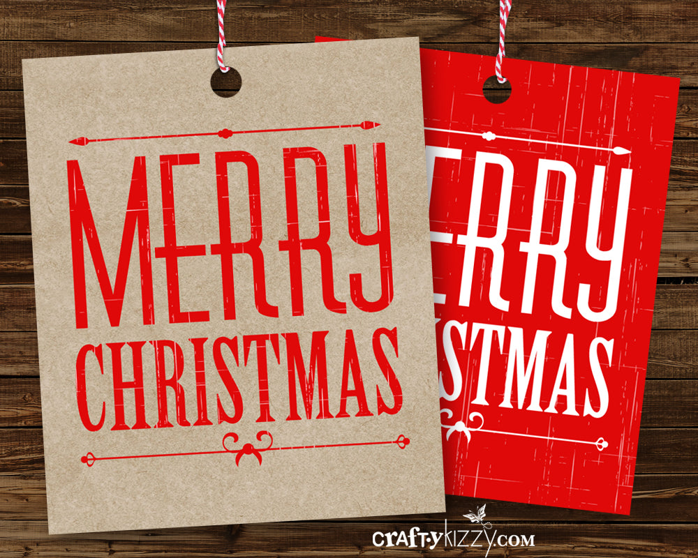 Merry Christmas Vintage Favor Tags - Rustic Gift Tags - Includes Both Designs Red and Kraft - INSTANT DOWNLOAD
