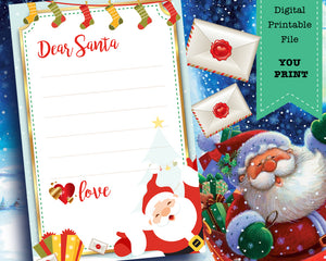 Letter To Santa - Printable Letter To The North Pole - Christmas Wish List -  INSTANT DOWNLOAD
