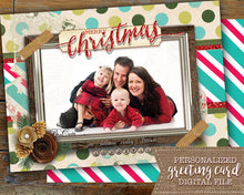 Christmas Photo Greeting Card - Merry Christmas Holiday Photo Card - Custom Photo Card  Personalized