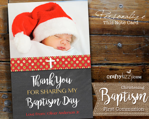 Unisex Christmas Christening First Communion - Baptism Photo Thank You Card - Boy Girl Printable - Personalized Note Card Red Gold