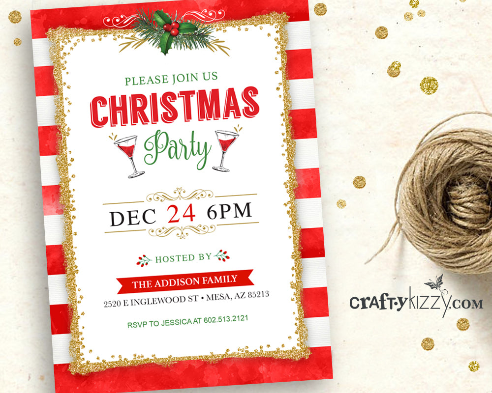 Christmas Party Invitation Printable Winter Party Invite Holiday Invitations Watercolor Red and Gold Glitter Personalized