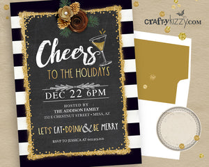 Cheers To The Holidays Party Invitation Holiday Invitations - Eat Drink & Be Merry Invite - Black and Gold Glitter Personalized