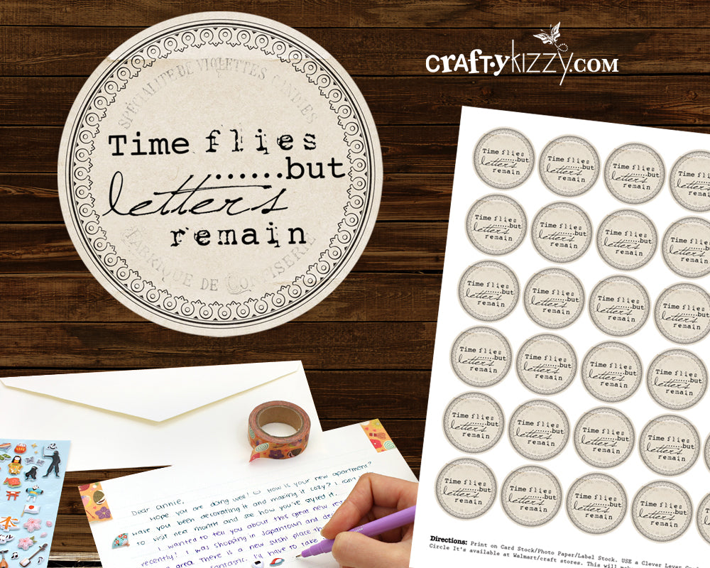 Stationery Letter Seals - Time Flies Planner Stickers - Rustic Snailmail Labels - Envelope Seals - INSTANT DOWNLOAD - CraftyKizzy