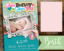Easter Birth Announcement - Some Bunny Loves You Photo Card - Spring Baby Girl Birth Announcement Printable File
