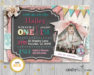 Shabby Chic First Birthday Girl Invitation - 1st Birthday Party Chalkboard Printable Invite - Vintage Lace Floral Pink Invitation - Big ONE