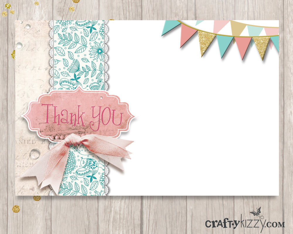 Shabby Chic Thank You Card - Printable Birthday Thank You Cards - Note Card INSTANT DOWNLOAD - CraftyKizzy