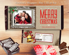 Merry Christmas Chocolate Bar Wrapper Printable Holiday Favors Gifts - Rustic Hershey's Bar Label with Photo - CraftyKizzy