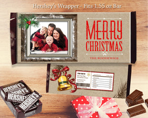 Merry Christmas Chocolate Bar Wrapper Printable Holiday Favors Gifts - Rustic Hershey's Bar Label with Photo