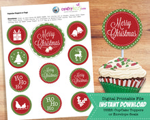 Christmas Cupcake Toppers - Holiday Envelope Seals - Christmas Party Favors - INSTANT DOWNLOAD