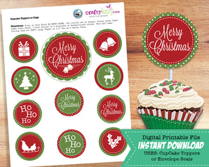 Holiday Elf Christmas Cupcake Toppers - Elves and Snow Flakes Envelope Seals - Christmas Party Favors - Goodie Bag Stickers - INSTANT DOWNLOAD - CraftyKizzy