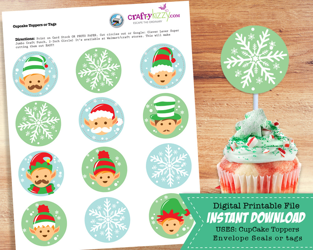 Christmas Cupcake Toppers.Holiday Elf Christmas Cupcake Toppers Elves And Snow Flakes Envelope Seals Christmas Party Favors Goodie Bag Stickers Instant Download