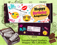 Emoji Candy Bar Wrapper - Emojis Birthday Party Favors - Hershey's Bar Label Favor - Tween Party Favors Personalized - CraftyKizzy