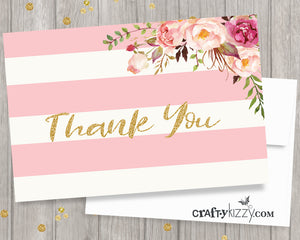 Baby Shower pink and gold thank you card