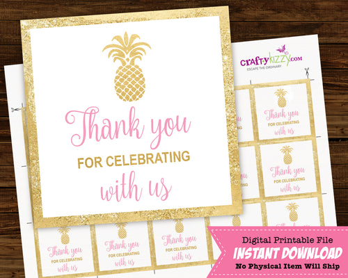 Pineapple Baby Shower Thank You Favor Tags - Bridal Shower Favors - Gender Reveal Thank You Tags - Unisex 2x2 inches INSTANT DOWNLOAD - CraftyKizzy