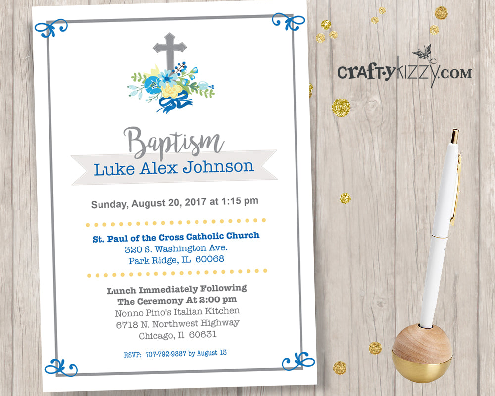 Boy Baptism Invitations Christening Invite First Holy Communion