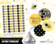 Bee Gender Reveal Favors Hershey Kisses Stickers - What Will It Bee Baby Shower Favors - Black & Yellow INSTANT DOWNLOAD - CraftyKizzy
