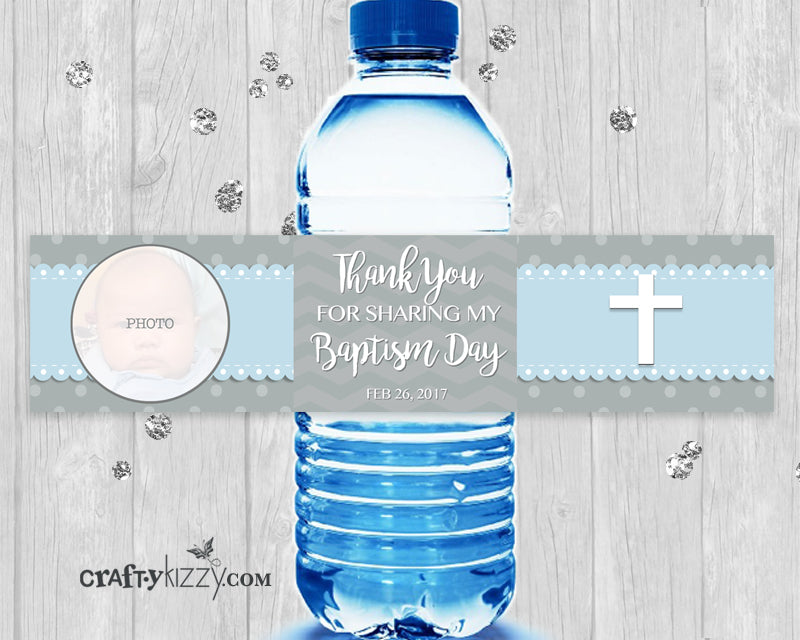 Baptism Water Bottle Wrapper - Christening Labels - First Holy Communion Party Favors - Digital Label File - Personalized