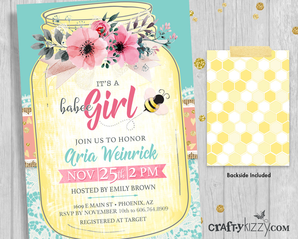 Baby Shower Invitations   Bee Baby Shower Invitation   Itu0027s A Girl Baby  Shower Bumble Bee ...