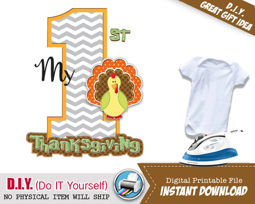 My First Thanksgiving Boy Iron On Printable Decal - Thanksgiving Outfit DIY Shirt - Fall Color Matching Shirts - INSTANT DOWNLOAD - CraftyKizzy