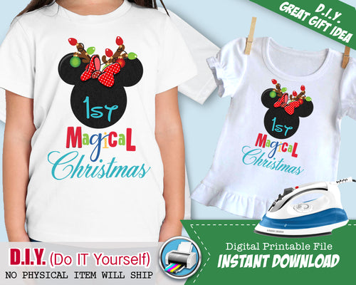 243cf54aab07e Mouse Ears First 1st Christmas Shirt - Iron On Printable INSTANT DOWNLOAD