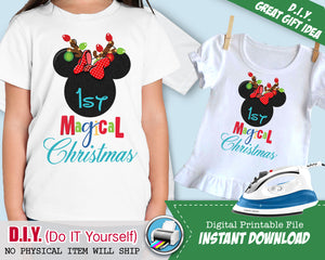 Mouse Ears First 1st Christmas Shirt - Iron On Printable INSTANT DOWNLOAD