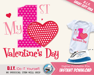 My First Valentine's Day Girl Shirt - Girls Valentines Onsie Printable Iron On Digital Transfer - Pink & Red INSTANT DOWNLOAD - CraftyKizzy