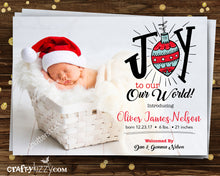 Birth Announcement Christmas Card - Joy To Our World Photo Card - Holiday Newborn Baby Card