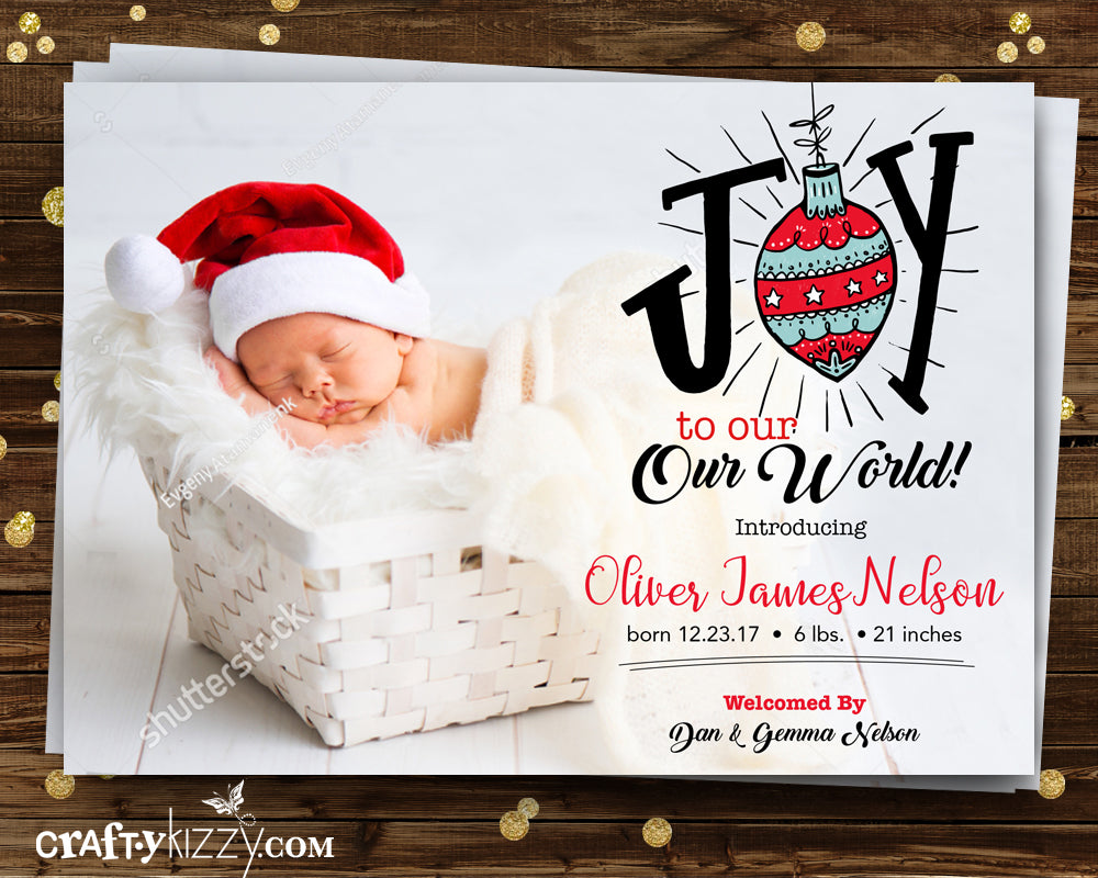 Birth Announcement Christmas Card - Joy To Our World Photo Card - Holiday Newborn Baby Card - CraftyKizzy