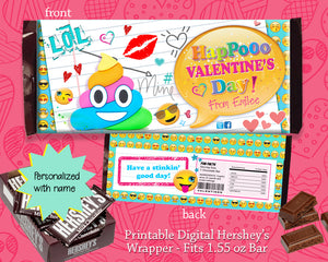 Poop Emoji Happy Valentine's Day Party Favors Candy Bar Wrapper Hershey's Bar Classroom Favor Label - Personalized - CraftyKizzy
