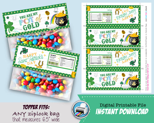 St Patricks Day Party Favors - Treat Bag Topper - Candy Loot Bag Printable Party Favors - Goodie Bags - INSTANT DOWNLOAD