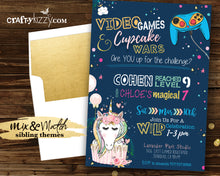 Cupcake Wars Sibling Birthday Invitation - Game On Video Game Joint Invitation Printable - Brother Sister Party - Unicorn Gamer Girl Boy