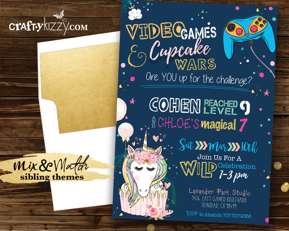 Cupcake Wars Joint Birthday Invitation - Game On Video Game Joint Invitation Printable - Brother Sister Party - Unicorns Gamer Girl Boy