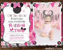 Minnie Mouse Pink Second Birthday Girl Invitation - Oh Twodles - 2nd or First Birthday Invitations