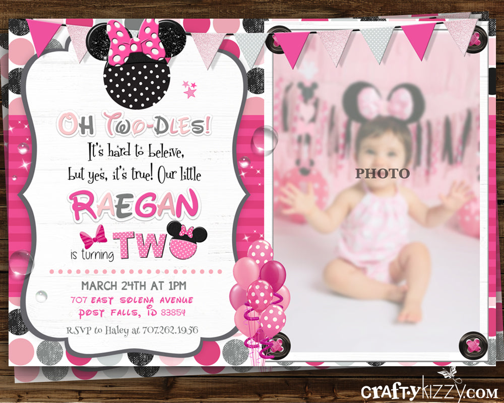 Minnie Mouse Pink Second Birthday Girl Invitation