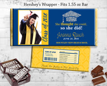 Blue and Yellow Grad party favor labels