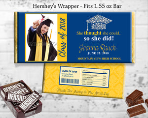 Graduation Party Favor Chocolate Bar Wrapper Printable Grad Favors - College High School Grad Hershey's Bar Label Blue Black Red and Gold Personalized - CraftyKizzy