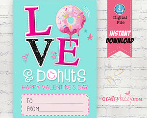 Donut Valentines Day Cards - Love and Donuts Girl Valentine's - Classroom Valentine Printable Cards - INSTANT DOWNLOAD - CraftyKizzy