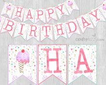 Ice Cream Happy Birthday DIY Pennant Banner